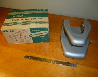 Gray Vintage Mutual 2 Hole Paper Punch No.50 - In original box