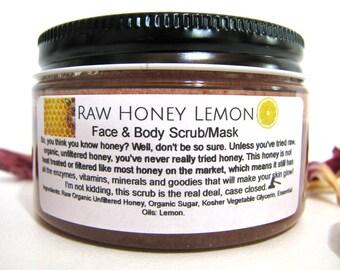 Organic Honey Lemon Body and Face Scrub, 2 oz, 6oz or 8oz