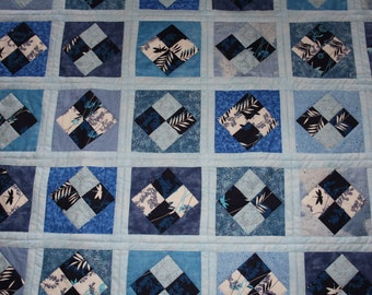 Blue Lap Quilt - 4 Patch