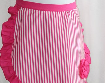 Pretty Half Apron, Pink Striped Apron with Ruffle, Gift for Her