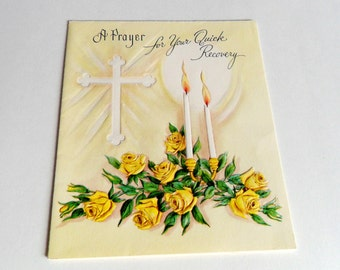 Get Well Soon Card Vintage Greeting Prayer For Quick Recovery Used Yellow Roses Cross Candles Greetings Inc USA