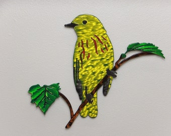 Bird on Branch with Leaves 2 - Metal Wall Art - Multilayer - (DD2---)
