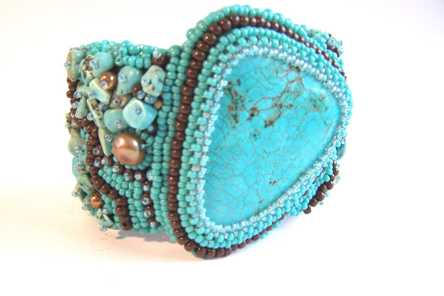 Turquoise bead embroidery cuff bracelet statement