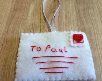 Gorgeous Valentines Envelope Decoration Perfect For Your Twiggy Tree!  With Your Choice of name! All Profits Go To Charity!