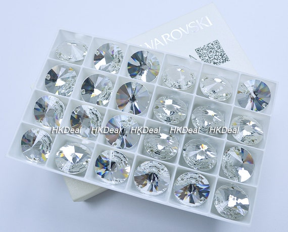 Swarovski 3200 10mm crystal clear rivoli round sew on for Swarovski decoration crystals
