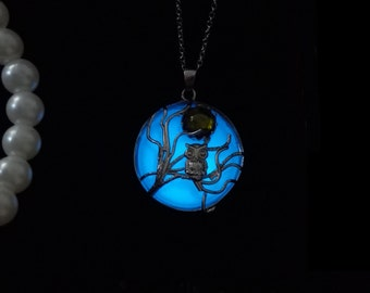 Owl Moon Glow In the Dark Jewelry - Glow In the Dark Necklace - Aqua Blue Butterfly Necklace - Glow Necklace-Glow Jewelry - Owl Jewelry
