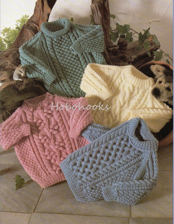 Baby Knitting Pattern Childrens Knitting Pattern Aran Sweaters