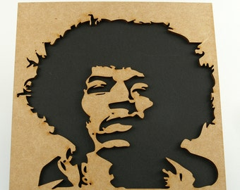 Drawing inspired by Jimi Hendrix laser-cut