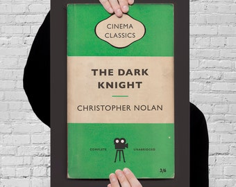 BATMAN The DARK KNIGHT Movie Poster Christopher Nolan Poster Batman Print Christopher Nolan Print Orange Penguin Classic Movie Print Ribba