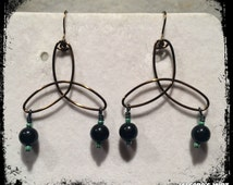 """Handcrafted """"Fallout Shelter"""" Dangle Earrings"""