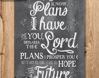 "20x30 -- I know the plans that I have for you -- Chalkboard Jeremiah 29 v 11 (NIV) Digital Download. 20""x30"" (and a file with bleed)"