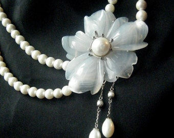 UNIQUE PEARL NECKLACE Unique Statement Necklace White Agate Camellia Flower Black Diamonds Pearl Drops Wedding Necklace Custom Bridal