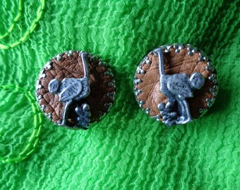 ON SALE - Vintage Clip on Earrings Ostrich South Africa '70