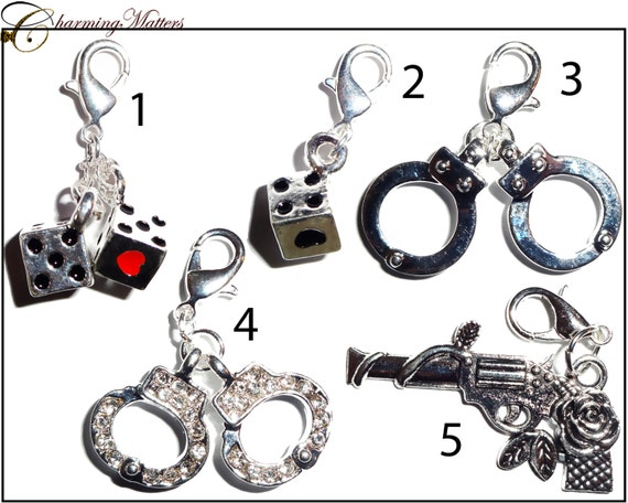 dice gun handcuffs dangles for window lockets by