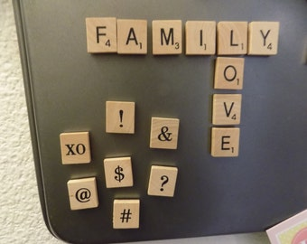 Scrabble Tile Magnets! Set of any 10 Letters/Symbols!