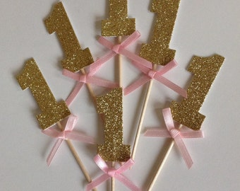 12 x Gold Glitter Number One Cupcake Toppers with Pink Bow, 1st Birthday Cake Toppers, Wedding Anniversary Cake Toppers