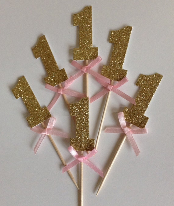 Wedding Gold Name Cupcake Topper Name Cake Topper Party Cake - One cupcake toppers with pink bow 1st birthday cake toppers wedding