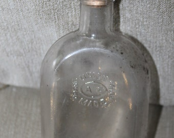 Antique/Vintage Clear Glass Bottle Medicine/Alcohol  A F UNION MADE Warranted Flask w Cork Lid, Rounded Shape, 6 Inches Tall, Needs Cleaning