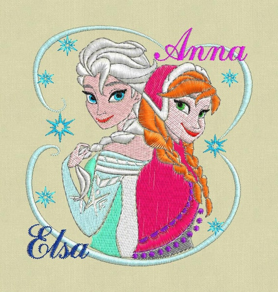 Frozen Embroidery Design Elsa Anna Pes Hus Jef By ViolaFashion