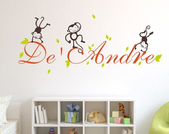 Custom baby name wall decal,adorable monkey wall sticker art,Childrens Name Wall Decals Nursery,Mongram Name Wall Decal,Vinyl Wall Sticker