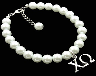 Chi Omega Greek Sorority Glass Pearl Bracelet with Extender 8mm SILVER PLATED