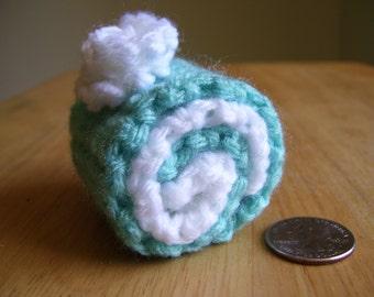 Hand Crochet Mint Cream Roulade Cake Pincushion/Home Decor