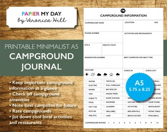 Printable Campground and RV Park Journal - A5 Filofax - Minimalist Design