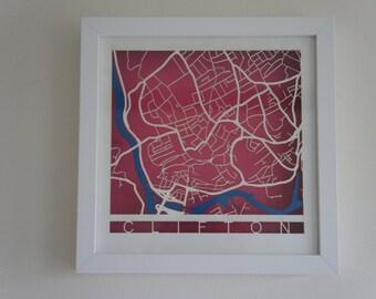 Clifton - Bristol Laser cut map - Pink