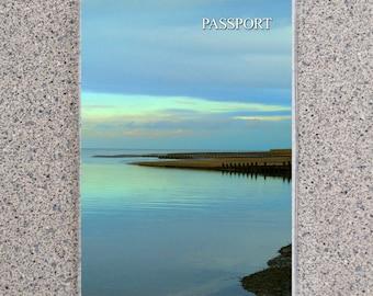 Peaceful Blue Coast Passport Cover Holder Case Wallet, Dusk Dawn Blue Ocean Water Clouds Scenic Landscape Shoreline Nature Nautical