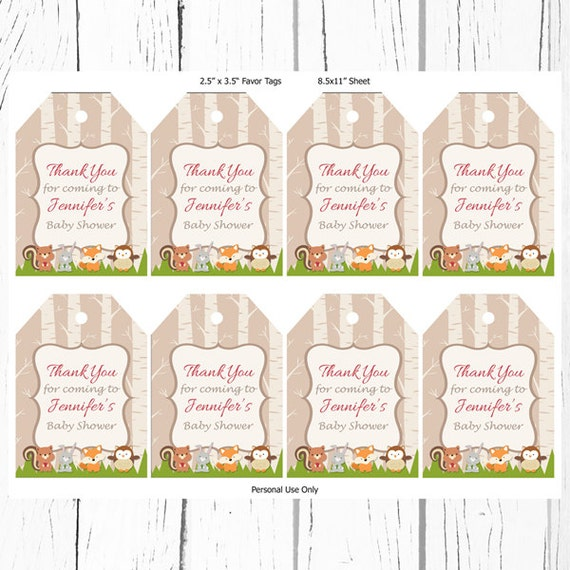 baby shower favor tags woodland forest friends favor tags printable
