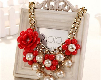 Red-Faux-Pearl-cluster-bib necklace-floral-rosette cluster-Necklace pearl necklace gold bridal jewelry