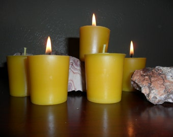 ShadowDance Hand Poured Natural  Beeswax Votive