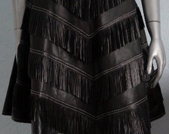 Gianni Versace iconic rare fringe leather skirt NEW with tag collectible
