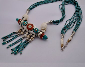 DIY Necklace Kit - Afghani Turquoise Beads Handmade Conch  Shell Focal Pendant with Brass Findings M11