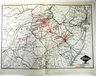 Original 1922 Dated Reading Railroad System Map