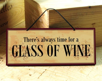 Wall Sign With Wine Saying In Yellow Dark Red Black Wine Sign