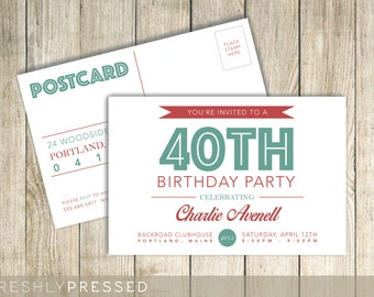 Adult Birthday Party Invitation Postcard