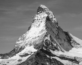 Matterhorn, Black and White Photography, Mountain, Monte Cervino, Italy, Switzerland, Landscape Photography, Home Decor, Large Art