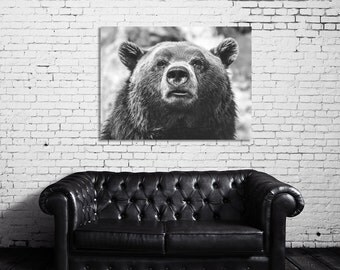 Bear, Animal Photography, Poster, Nature Print, Woods, Large Wall Art, Black and White, 18x24 Wall Art, Industrial, Extra Large Art, Modern