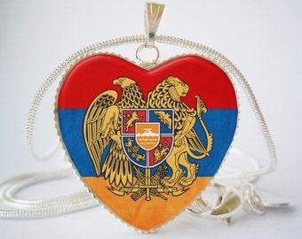 Armenia Flag Heart Pendant