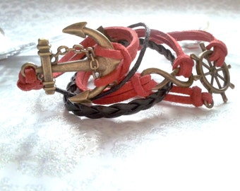 CLEARANCE - Red and Black Sailor Infinity Charm Bracelet