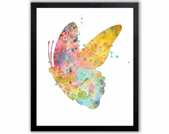 Watercolor Painting, Abstract Watercolor, Butterfly Painting, Butterfly Wall Art, Home Decor, Nursery Art, Teen Girls Room, BU008