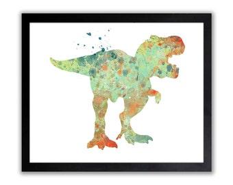 Tyrannosaurus Rex - T.Rex Art Print - Abstract Watercolor Dinosaur Wall Art - Dinosaur Room Decor - NH010