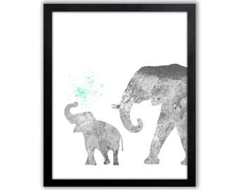 Elephant Art Print, Baby Elephant, Nursery Art