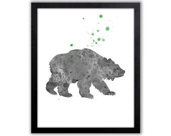 Woodland Animal Art Print, Bear, Grizzly Bear - B204