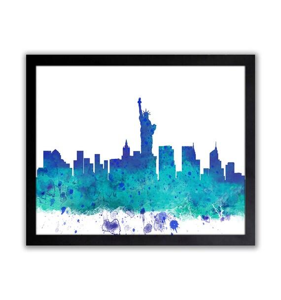 Watercolor New York: New York Cityscape Watercolor New York Skyline New York