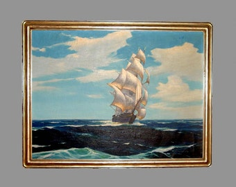 Hunter Wood Nautical Sailing Ship Oil Painting Newcomb Macklin Frame Vessel Boat Listed American