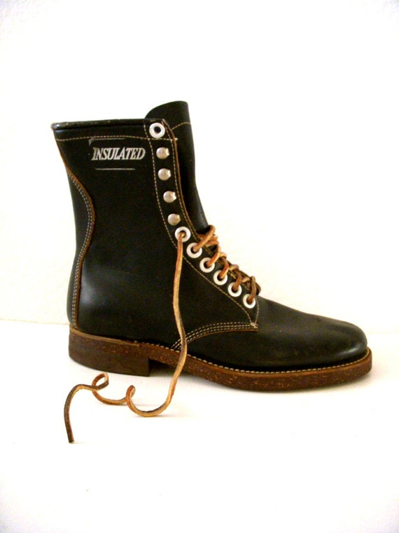 vintage black leather work boots insulated black leather