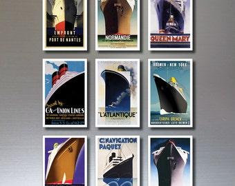 Atlantic Liner Fridge Magnets - Set of 9 Atlantic liner poster fridge magnets
