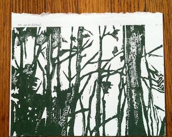 Woods Linoblock Print 5x7